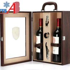 Hộp rượu gỗ đôi